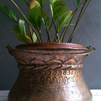 Vintage Hanging Copper Planter/ Rustic Copper Planter/ Vintage Hanging Planter/ Rustic Copper Pot/ Hand Forged Copper Cauldron