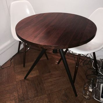 West Elm Round Adjustable Bistro Table Wood Top