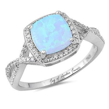 A Perfect Cabochon Australian Blue Opal Engagement Ring