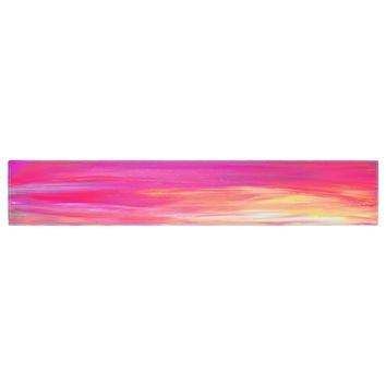 "Ebi Emporium ""Bright Horizons 2"" Magenta Multicolor Painting Table Runner"