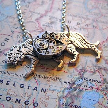 Small Steampunk Necklace Silver Tiger Tiny Watch Movement Handcrafted Jewelry