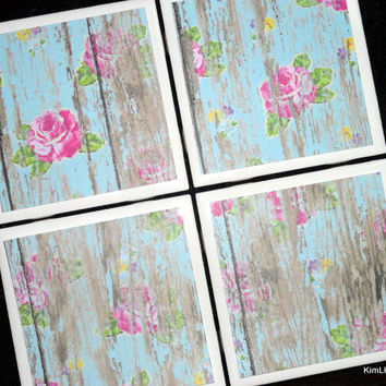 Blue Distressed Wood Coasters, Tile Coasters, Coasters, Rustic Coaster, Wood Floral Coaster, Drink Coaster, Tile Coaster, Coaster Set of 4