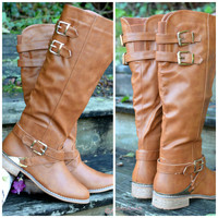 Boulder Bluffs Cognac Tall Buckle Boots