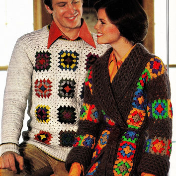 His and Hers granny squares cardigan sweater set pattern PDF Instant Download CARDIGAN sweater coat jacket supplies epsteam knitting pattern