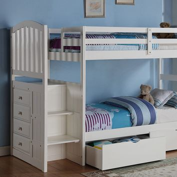 Emily White Twin over Full Bunk Bed with Stairs