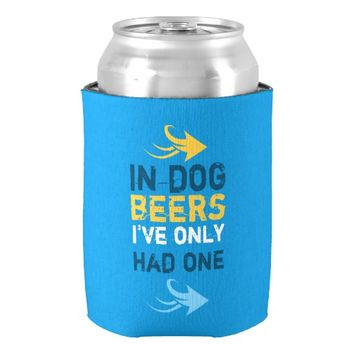 Blue and yellow beer quote can cooler