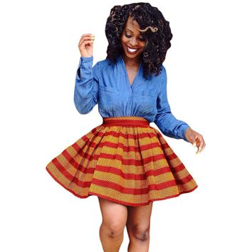 Women's High Waist Elegant African Print Mini Skirt