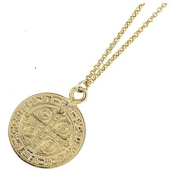 Large Saint Benedict Coin Necklace