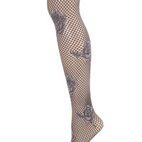 Hue Women's Chrome Gray Multi Floral Net Tights (2)