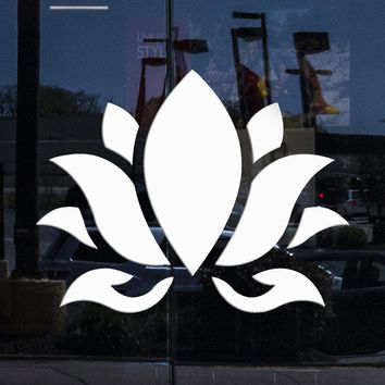 Custom Window and Wall Vinyl Decal Lotus Flower Buddhism Hinduism Yoga Stickers Unique Gift (394igw)