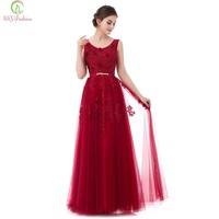 New The Bride Wine Red Lace Flower Evening Dress Sexy V-neck Sleeveless Backless Banquet Long Prom Formal Gown Custom