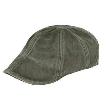 ililily Soft cotton Newsboy Flat Cap ivy Cabbie Vintage Gatsby Irish Hats Driver Hunting Hat with adjustable strap (flatcap-508-7)