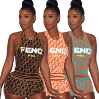 FENDI Printed letter shorts suit