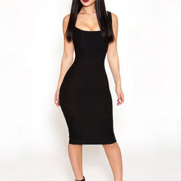 Black Sleeveless Back Cut-Out Midi Bodycon Dress