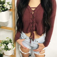 Lauren Lace Up Cropped Sweater (BRICK)