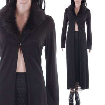 90s Faux Fur Long Cardigan Stretchy Black Long Sleeved Coat Fluffy Collar Vamp Goth 1990's Vintage Clothing Womens Size Medium Large