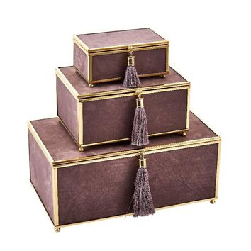 Artistic Velveteen Storage Boxes With Tassel, Beige, Set Of 3 -Sagebrook Home