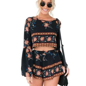 PEAPUNT Boho Print Beach Elegant Jumpsuit Romper 2016 Summer Style Backless Long Sleeve Sexy Playsuit Women Two Piece Short Overalls