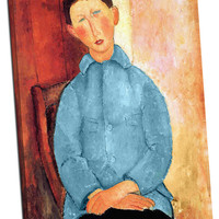 Boy in the Blue Jacket by Modigliani Mirror Wrapped Canvas on 1 1/2-inch Stretcher Bars