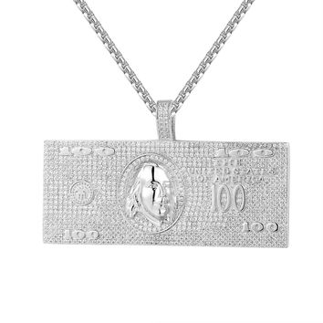 14k White Gold Finish 100 Dollar Bill Note Pendant Chain