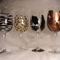 painted animal print wine glasses on oversize
