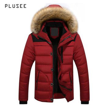 Plusee winter jacket men parkas warm men's winter jacket hooded fur plus size pocket casual winter jacket men overcoats L-4XL