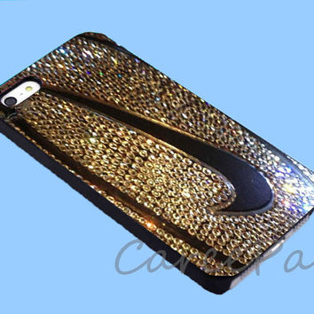 Nike Logo Swoosh on Golden Glittery Basketball Case for iPhone 4/4S/5/5S/5C, Samsung Galaxy S3/S4, iPod Touch 4/5, htc One x/x+/S