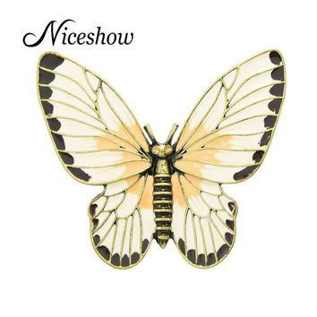 DCCKL72 Fashion Jewelry Retro Style Antique Gold Beige Orange Enamel Butterfly Lovely Girl Insect Brooch Fashion Women Accessories