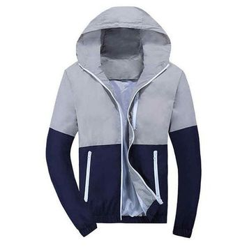 Color-Block Windbreaker Gray/Navy