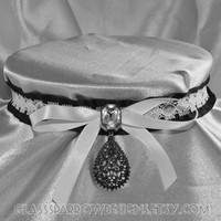 Black and Lace Choker Collar - MADE TO ORDER silky ribbon locking collar with lace , gemstone accent, bow, teardrop shaped charm (key includ