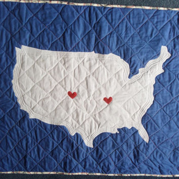 Map quilt - US blanket - Fourth of July - American bedding - Patchwork - New baby gift -  Gender neutral - Patriotic