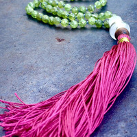 Peridot necklace Green gemstone peridot mala beads Bright fuchsia silk tassel Spiritual jewelry Yoga mediation beads New Zealand Handmade