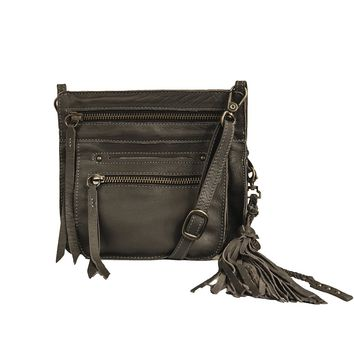 Stretta Small Leather Crossbody and Belt Hip Bag - Fossil Grey