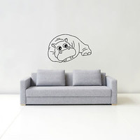 WALL DECALS HIPPO DECAL VINYL STICKER NURSERY BEDROOM HOME DECOR MURALS  N449