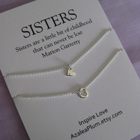 SISTERS Necklace// Sisters Jewelry // Two sisters Necklace. Delicate sterling silver // Inspirational Gift