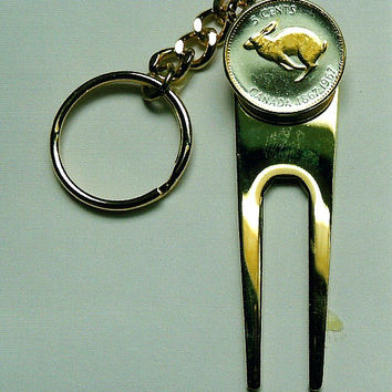 Golf ball marker, Divot, Key chain - Gorgeous 2-Toned Gold on Silver Canadian Rabbit Coin
