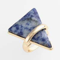 Women's Berry Triangle Ring - Gold/ Blue