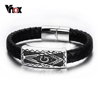 Vnox Mens Stainless Steel Freemason Masonic Bracelet Punk Genuine Black Leather Wrap Bracelets Bangles Magnetic Buckle Jewelry