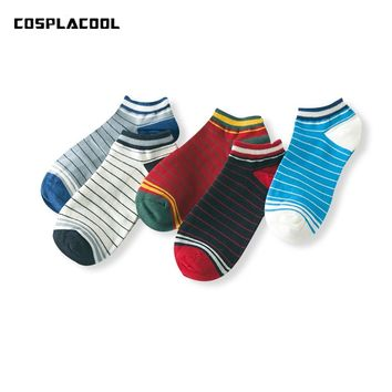 [COSPLACOOL]Candy color men socks korean spring/summer fashion casual male Sokken thick stripes stripe cotton calcetines hombre
