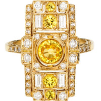 White Gold Ring with White Diamonds And Yellow Sapphires by Sabine G for Preorder on Moda Operandi