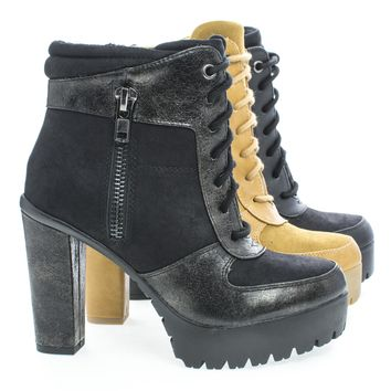 Verb Lace Up Dual Fabric Lug Sole Platform Block Heel Ankle Boots