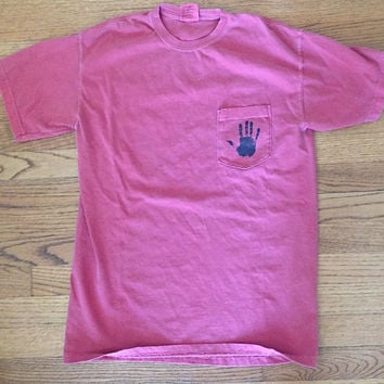 Handprint Pocket Comfort Colors Blue Jean tshirt unisex clothing brandy melville inspired graphic tee women's clothing brandy melville