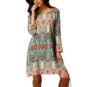 Boho Dress Crew Neck Aztec Print V Back Shift Long Sleeve Tunic LS5