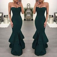 Plain Color Strapless Mermaid Evening Dress