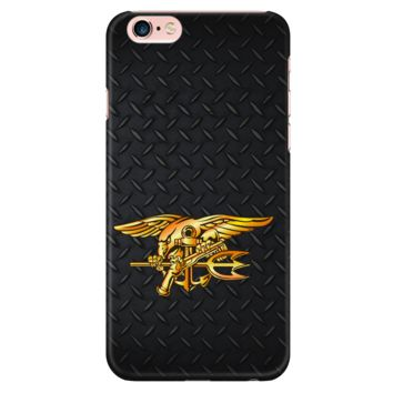 US Navy SEAL Trident on Diamond Plate Design Phone Case for Apple iPhone