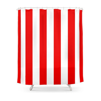 Society6 Holidaze Stripe Red White Vertical Shower Curtains