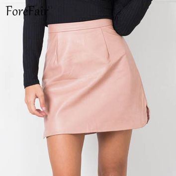 Forefair Latest Women's High Waist Bright PU Leather Skirt 2016 80's 90's Classic Vintage Skirts Ladies Sexy Bodycon Mini Skirt