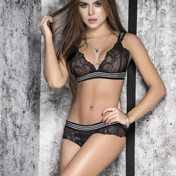 DCCKL0W Sheer Lace Bra and Panty Set