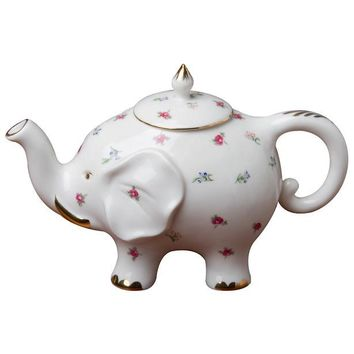 Spray Floral Happy Elephant Porcelain Teapot