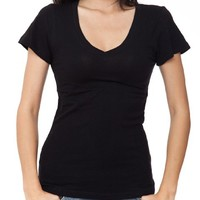 Ladies Black Plain T-Shirt Round V-Neck Cap Sleeves, Cotton Spandex,Black,Small